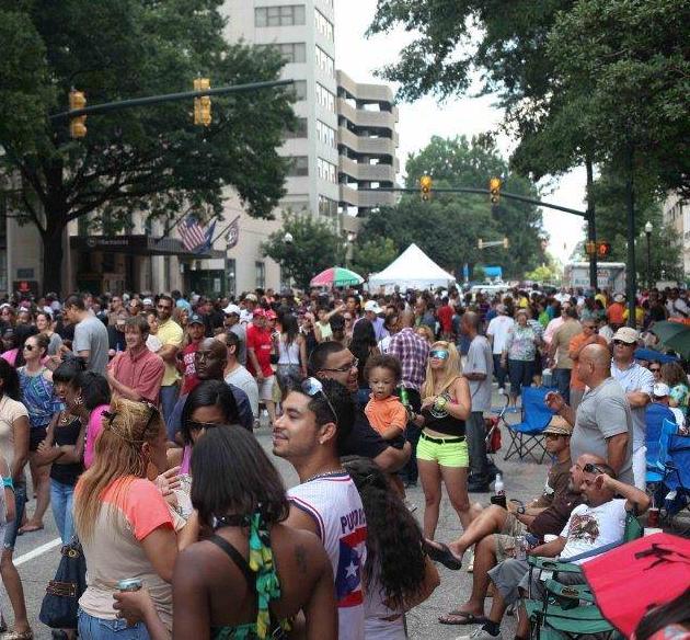 A crowd enjoys the Main Street Latin Festival